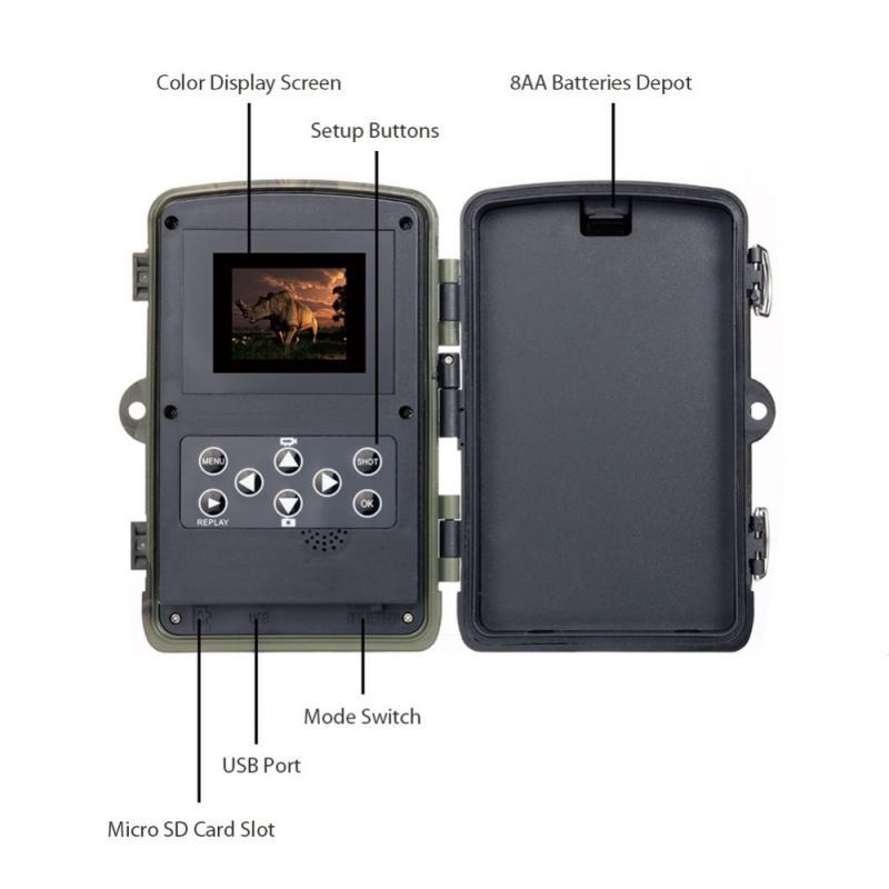 HC801A охотничья камера 16MP 1080P IP65 камера ночного видения лесная Водонепроницаемая камера для дикой природы камера Chasse 7