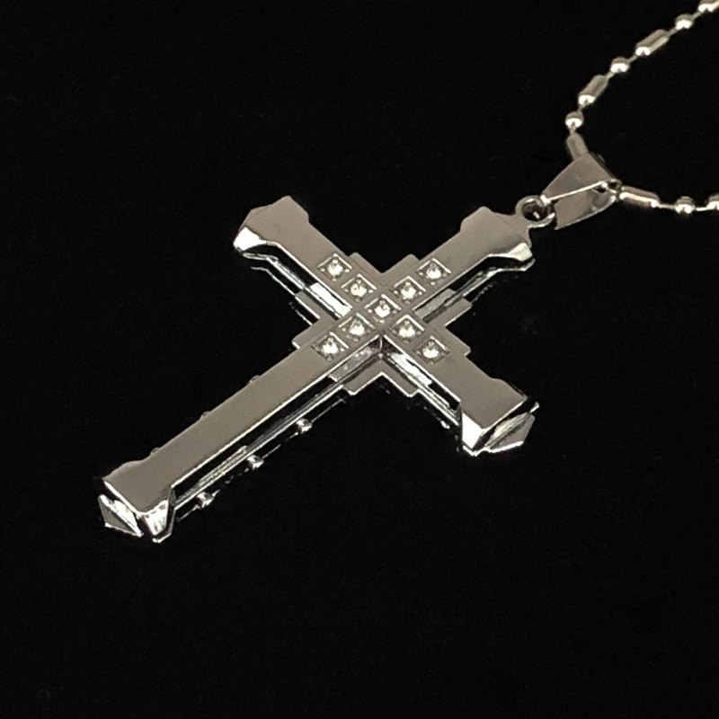 Nowa gorąca sprzedaż naszyjnik dla mężczyzn jezus kryształowy krzyż naszyjnik złoty srebrny i czarny krzyż naszyjnik moda biżuteria