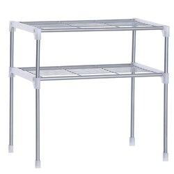 Regulowana stalowa kuchenka mikrofalowa półka odpinany stojak zastawa stołowa do kuchni półki stojak do przechowywania w łazience w Półki i stojaki od Dom i ogród na