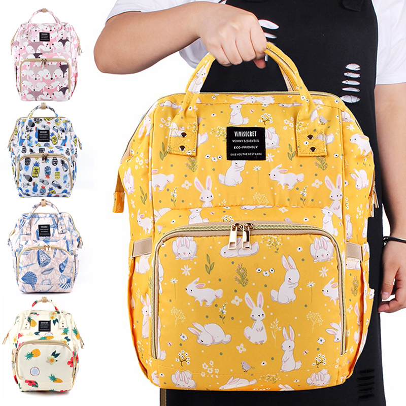 Vivisecret Diaper Bags Cartoon Yellow Rabbit Mummy Bags Fashion Fox Backpack For Travel Whit Baby Large Nappy Organizer Baby Bag