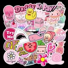 50 Pcs/Lot Kawaii Stickers Papelaria Pink Little Fresh Graffiti Stationery Sticker Waterproof Not Repeated TZ125D