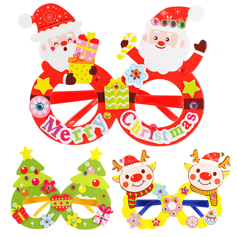 4PCS Paper DIY Glasses Christmas Hand Made Toys Cartoon Christmas Tree Snowman Elk Creative Festival Decoration Toy Gift