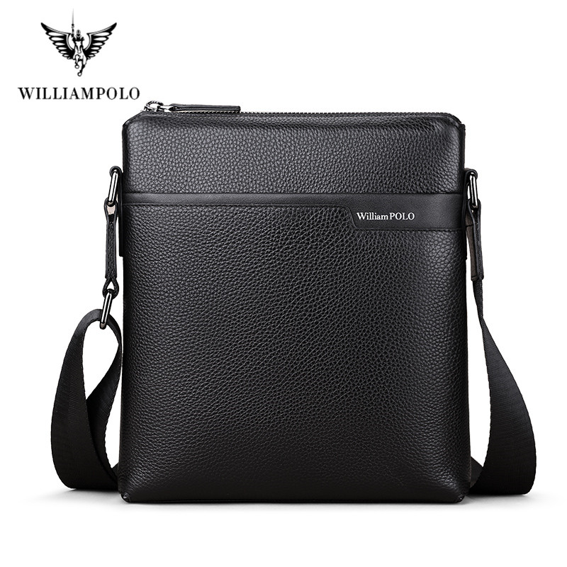 WILLIAMPOLO Cow Leather Men Messenger Bag Casual Business Vintage Men's Bag Genuine Leather Shoulder Bag Crossbody Bag
