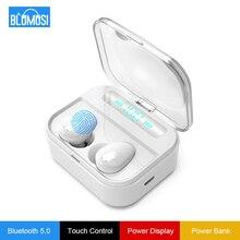 Auriculares TWS inalámbricos por Bluetooth 5,0, auriculares Hifi con pantalla de potencia de 1500 mAh y Control táctil de graves