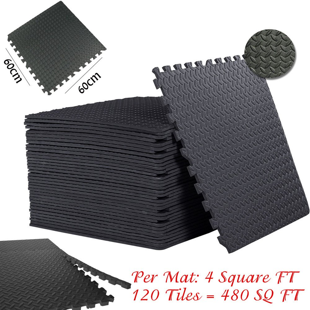 New 24 Sq ft Interlocking EVA Foam Floor Mat Puzzle Tiles Gym Exercise Gray USA