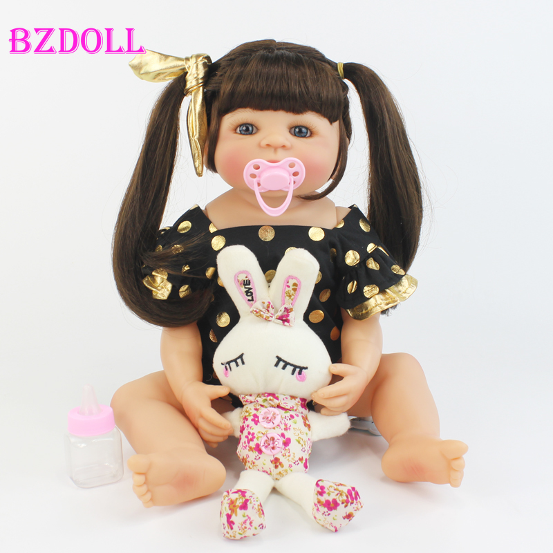 55cm Full Silicone Reborn Baby Doll Toy Like Real Vinyl Newborn Alive Bebe Babies Doll Girl Brinquedos Play House Bathe Toy(China)