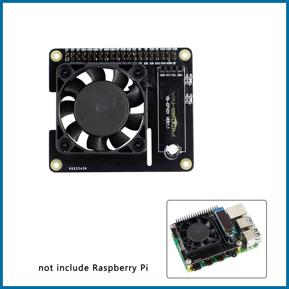 S ROBOT Raspberry Pi 4 Intelligent Control Fan Speed ​​Raspberry Pi 4 Temperature Control LCD Ice Fan Expansion Board RPI166