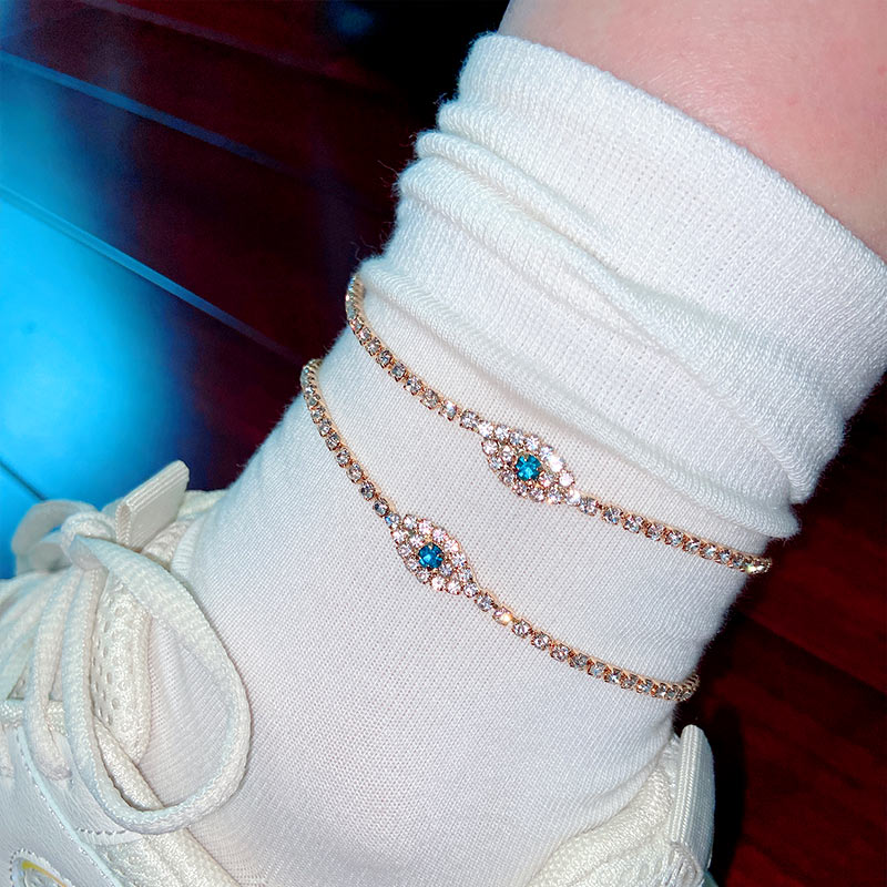Flatfoosie 2Pcs/Set Charm Gold Color Crystal Anklets Bracelets For Women Anklet Bohemian Summer Beach Foot Jewelry