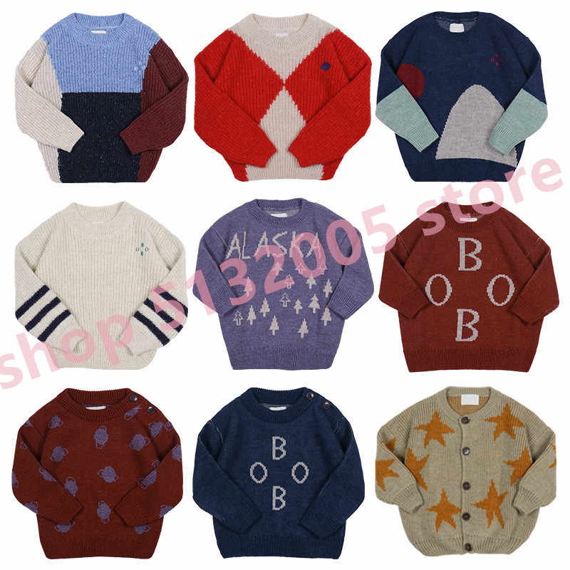 IN STOCK BO KIDS 2019  Autumn and Winter New Children's Sweater Sets of Round Neck Letter Print Stitching Sweater