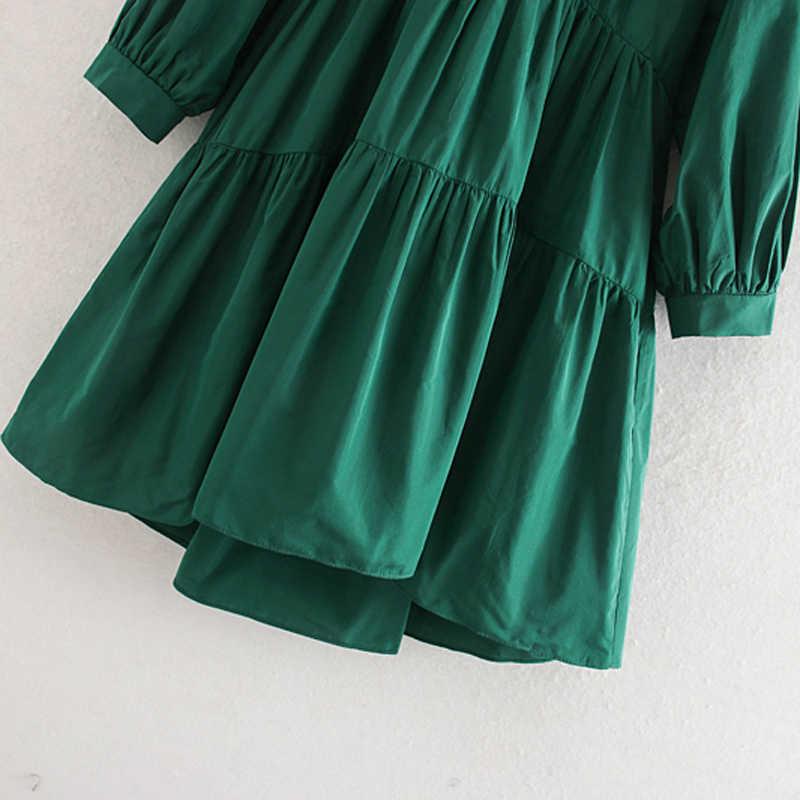 AGong หลวม Taffeta ชุดผู้หญิงแฟชั่น Casual V คอชุดผู้หญิง Elegant สามไตรมาสมินิเดรสหญิงสุภาพสตรี KD