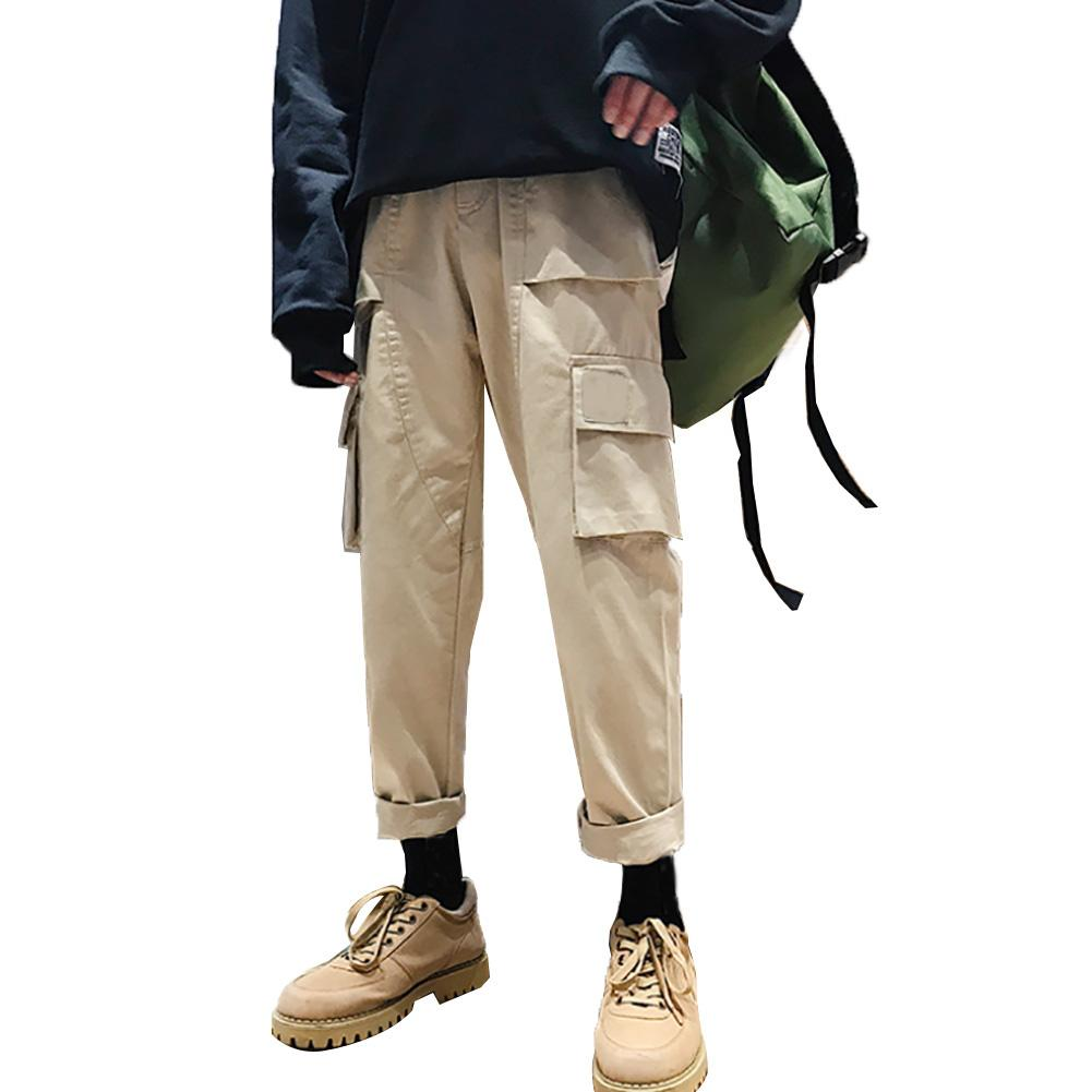 Casual Men Solid Color Multi Pockets Loose Straight Trousers Cotton Cargo Pants