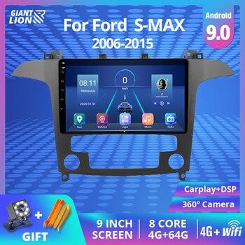 Radio Multimedia con GPS para coche, Radio con reproductor DVD, Android 9,0, 2Din, navegador, WiFi, para Ford s-max, Ford S Max, 2007, 2008