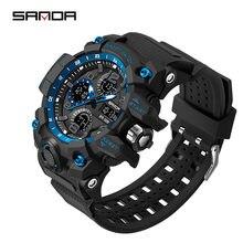 Sanda мужские модные спортивные часы цифровые светодиодные электронные