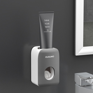 Image 5 - Estante de almacenamiento de artículos de tocador para baño, soporte para cepillo de dientes, dispensador automático de pasta de dientes con taza, juego de accesorios de montaje en pared