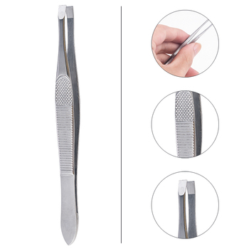 1PCS Eyebrow Hair Tweezers Professional Eyebrow Hair Removal Tweezer Flat Tip Tool Stainless Steel Convenient Small No Rust