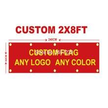 Niestandardowe 2x8FT Banner 60X240cm dowolny rozmiar marki Logo klub sportowy kryty odkryty żywy kolor dekoracji promocja podwójne szyte