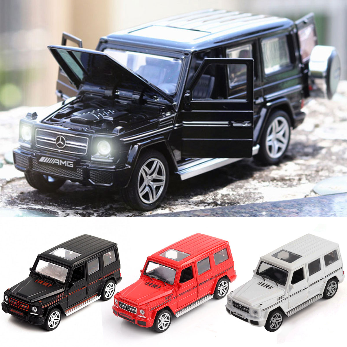 1:32 Alloy Vehicle Car Model Toy Car Toys For Children Pull Back Model Sound Light Boy Kids Gifts SUV For Mercedes Benz G65 AMG