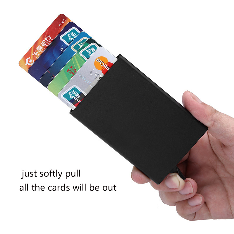 Aluminum Alloy Men Business Bank Credit Card Holder Women Metal Pu Bank Card Case Card Box Classic
