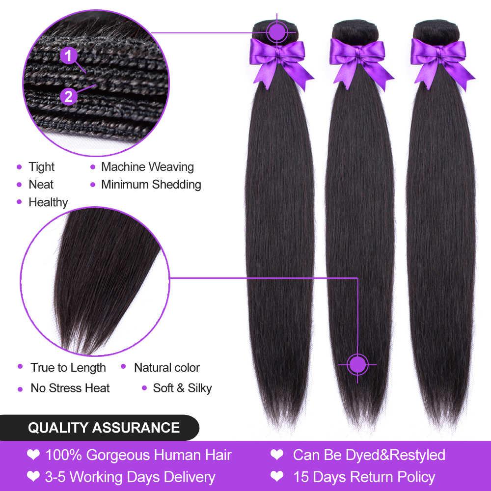 Pacotes de cabelo humano brasileiro com fecho, cabelo liso 3 pacotes com fecho 28 30 Polegada pacotes de 22 24 polegada fechamento