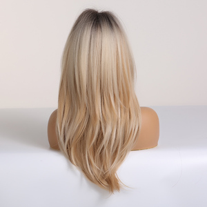 Image 4 - ALAN EATON Long Straight Wigs Ombre Black Blonde Ash Wigs with Bangs Heat Resistant Synthetic Wigs for African American Women