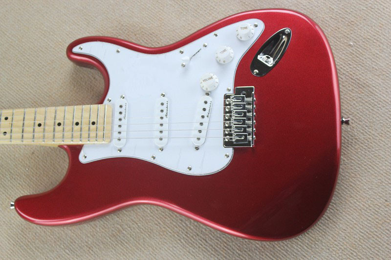 New Arrival Guitar F SSS   Red White Pickguard 6 strings natural Wood Electric Guitar   @30