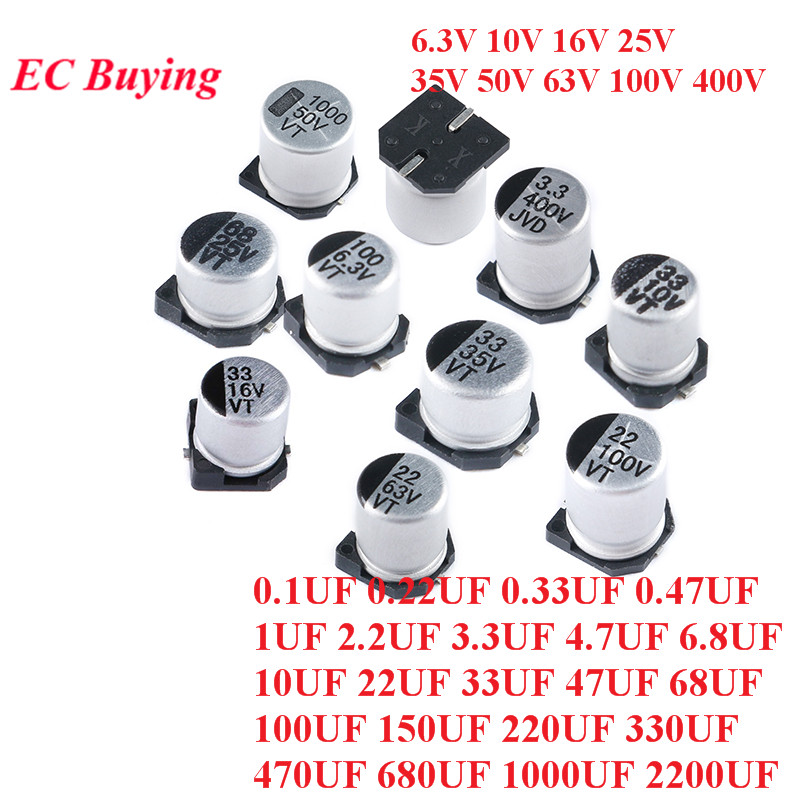 10pc SMD Aluminum Electrolytic <font><b>Capacitor</b></font> 6.3V 10V 16V <font><b>25V</b></font> 35V 50V 63V 1UF 2.2UF 10UF 22UF 33UF 47UF 100UF 220UF <font><b>330UF</b></font> 470UF 1000 image