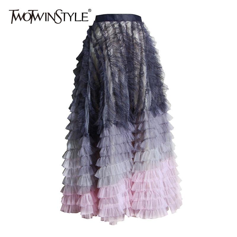 TWOTWINSTYLE Elegant Patchwork Mesh Women Skirt High Waist Asymmetrical Ruffles Hit Color Irregular Skirts Female Fashion Tide