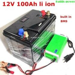 Li ion 12V 100AH Lithium polymère batterie lipo avec boîtier système BMS pour voiture solaire EV Golf vélo électrique vélo + 10A chargeur