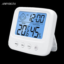 Amvolta lcd digital temperatura medidor de umidade backlight casa interior higrômetro eletrônico termômetro estação meteorológica do quarto bebê