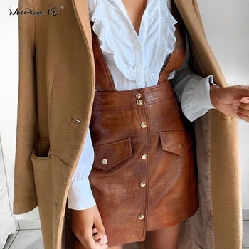 Mnealways18 Single-Breasted Pinafore Faux Leather Strap Skirts Womens High Waist Mini Brown Skirt Vintage Suspender Skirt 2020