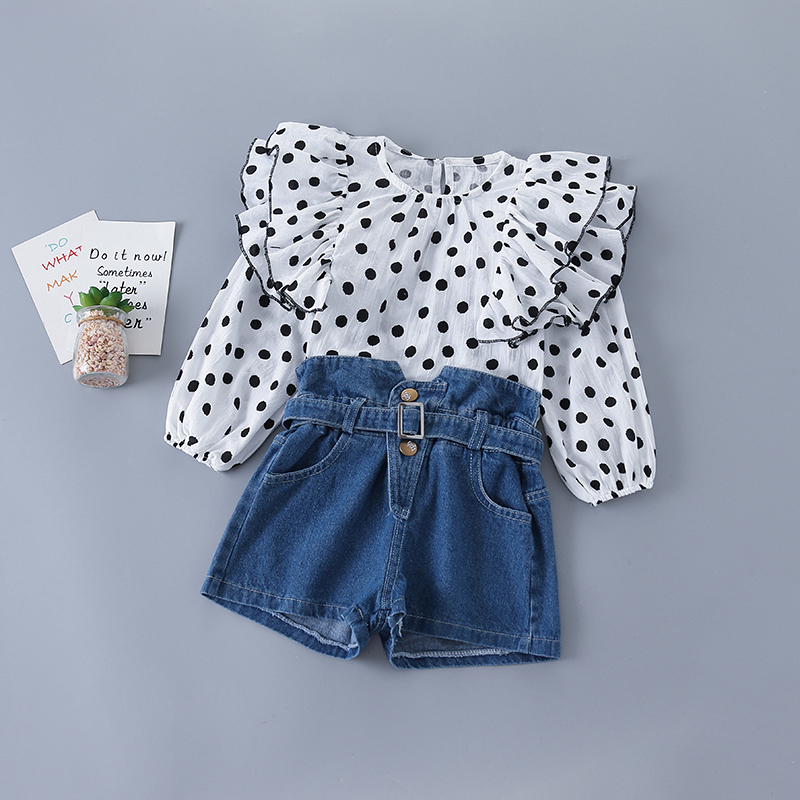 3-7 Years High Quality Spring Girl Clothing Set 2020 New Fashion Casual Dot Shirt + Jeans Kid Children Girls Clothing