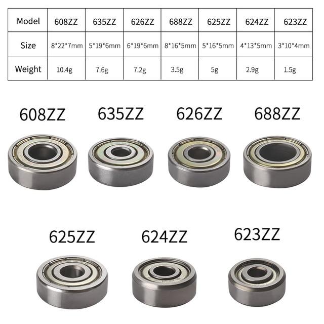 20pcs 623zz 624zz 625zz 626zz 635zz 608zz 688zz Ball Bearing Chrome Steel Ball Bearings 3D Printer Parts bearing Pulley Wheel 2