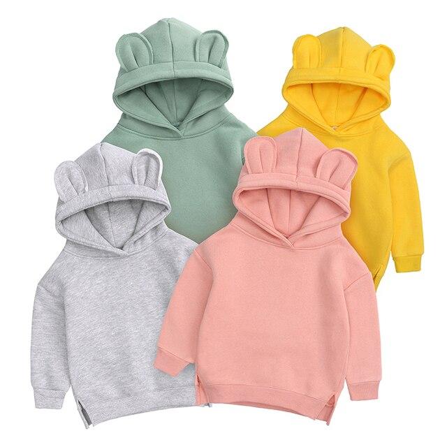 Baby Boys Girls Hoodies Cotton Hooded Sweatshirt Children Fashion Clothes Kids 2021 Infant Cartoon Clothing Pink Gray winter 1
