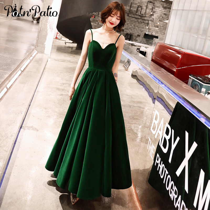 Sexy Spaghetti Straps Backless Green   Prom     Dresses   Long 2019 Sweetheart A-line Velvet Women Formal Gowns Plus Size
