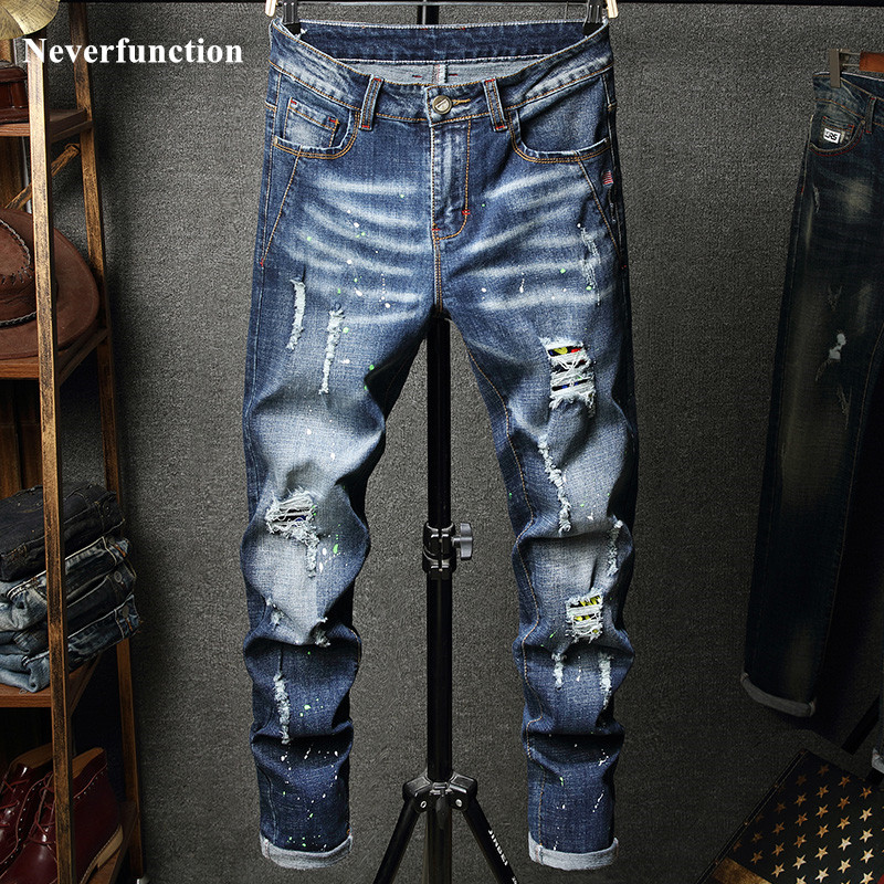 2019 Men Hip Hop Ripped Distressed Stretch Slim Fit Jeans Trousers Streetwear Man Holes Ink Printed Casual Beggar Denim Pants