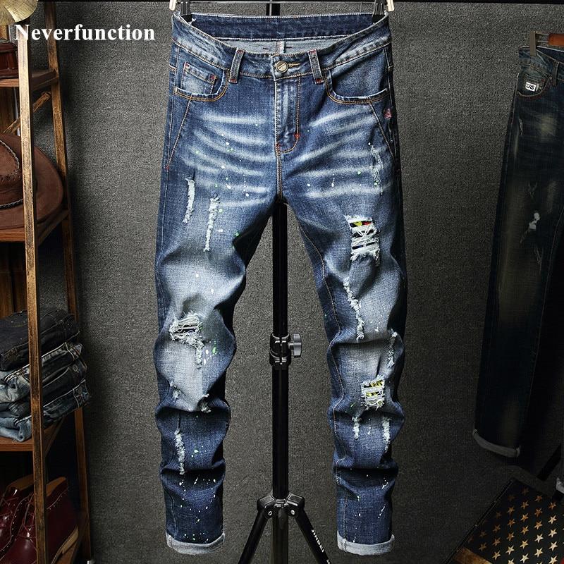 2019 Men Hip Hop Ripped Distressed Stretch Slim Fit Jeans Trousers Streetwear Man Holes Ink Printed Casual Beggar Denim Pants