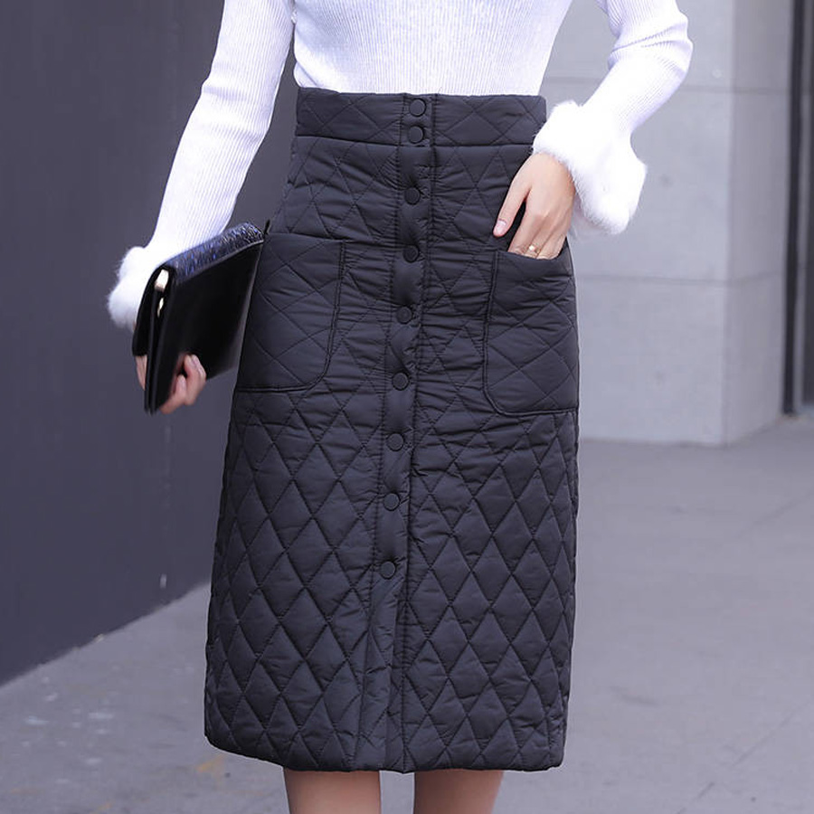 Winter Skirt Down Cotton-padded Solid A-Line Medium Long Skirts Womens 2019 Female Black Skirt Warm Thicken Plus Size Ropa Mujer