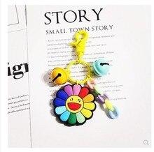 2019 Cute Cartoon Silica Gel Sunflower Key chain Designed For Women Bag Car Pendant Keychains children gift keyring