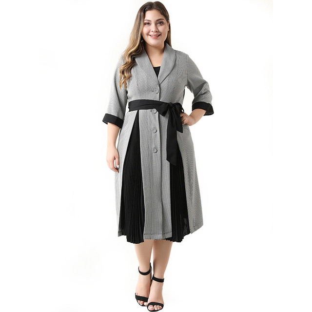 2020 Abaya Long Summer Womens Dresses Large Plus Size Fashion Elegant Casual Stitching Single Breasted Sashes Midi Suit Dress