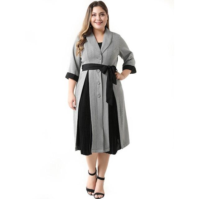 2020 העבאיה ארוך קיץ נשים שמלות גדול בתוספת גודל אופנה אלגנטי מזדמן תפרים יחיד חזה Sashes Midi חליפת שמלה