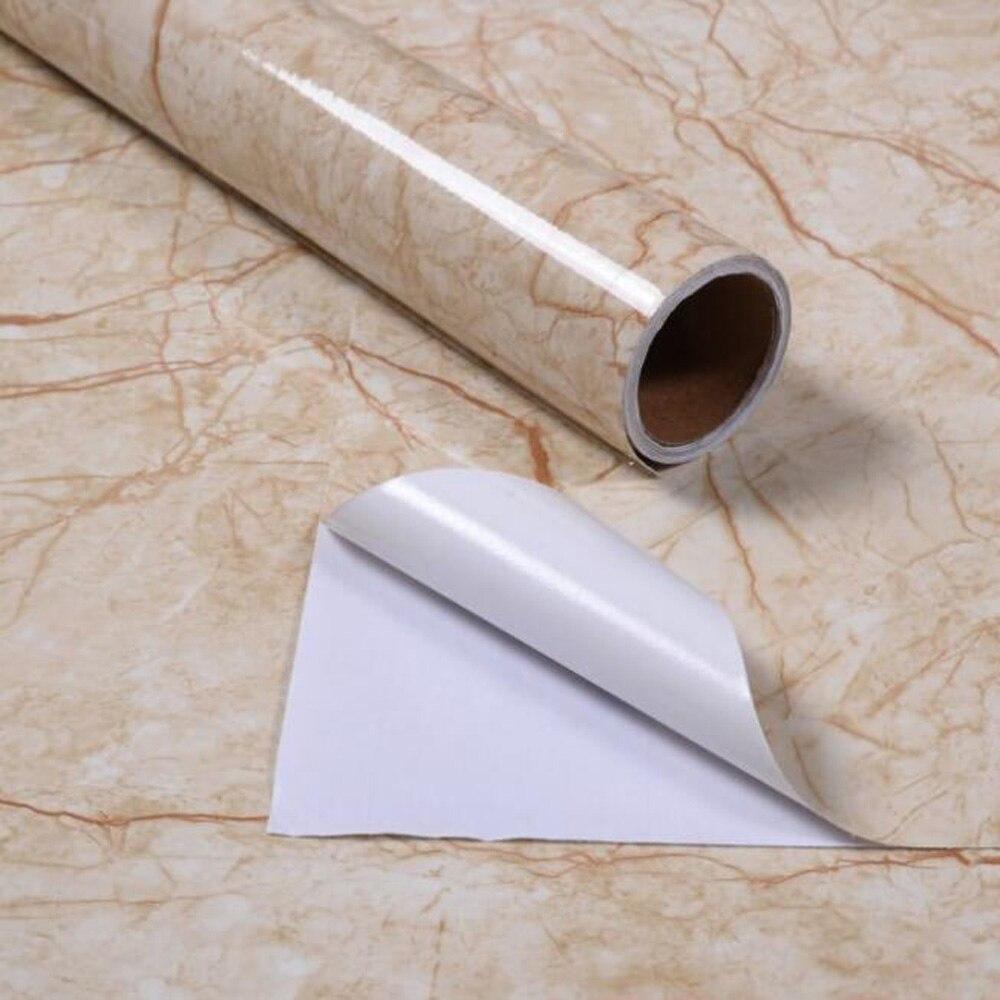 Купить с кэшбэком Waterproof Pvc Imitation White Beig Marble Pattern Sticker Self-adhesive Wallpaper Furniture Renovation Stickers Home Decor Film