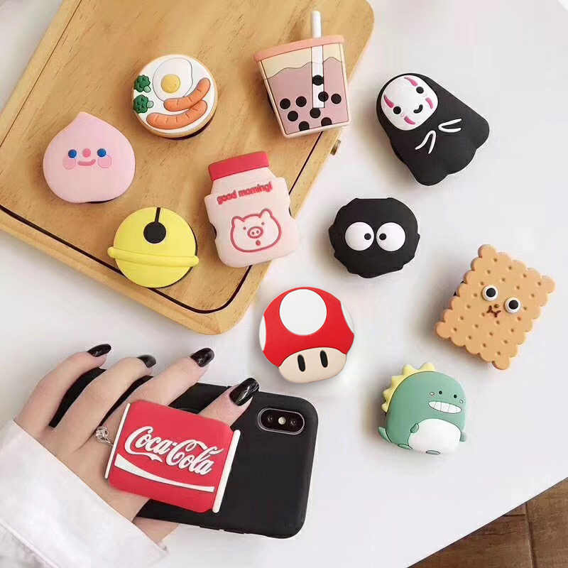 cute 3D cartoon silicone fold finger grip mobile phone holder case for iphone x xs 11 pro max 5 5s 6 8 7 cover expanding stand