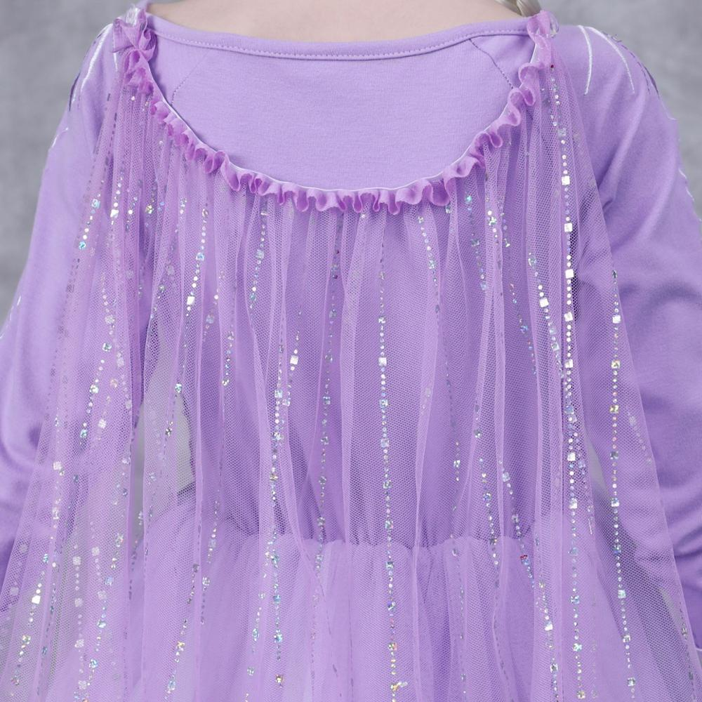Girls Elsa Anna Long Hair Tangled Princess  Dress Sequins Fancy Cosplay Costume Purple Ball Gown Christmas Birthday Party  kids 4