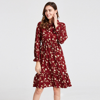 Plus Size Women's Clothing Long Sleeve Chiffon Shirt Dresses For Women Red Bow Floral Club Party Autumn Winter 2020 Woman image