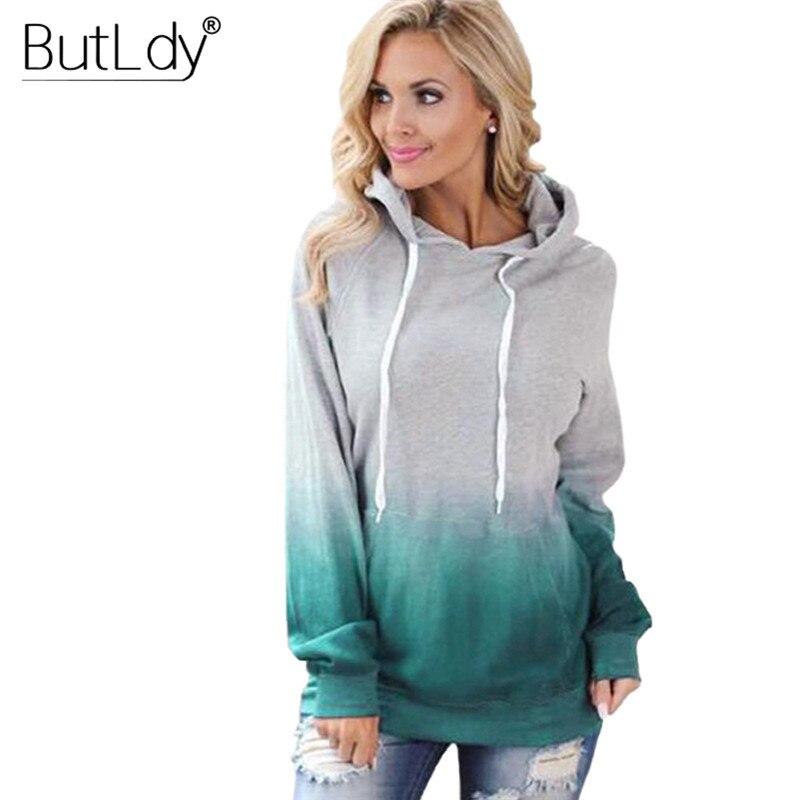 Pocket Print Colorful Hoodies Women Hooded Drawstring Slim Sweatshirt New Style Autumn Winter 2019 Long Sleeves