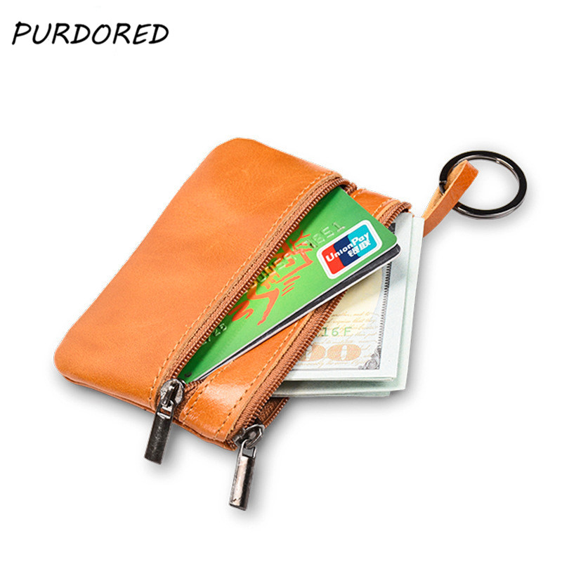 PURDORED  1 Pc Men Business Card Holder Genuine Leather Solid  Women Credit ID Card Holders Zipper Wallet Coin Purse Keychain