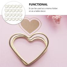 Memo-Clips Business-Cards-Holders Family for Friends Co-Worker Metal Love-Shaped Double-Layer