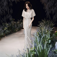 New Evening Dress Long Lace Sequins V neck Heavy Shoulder Sleeve Fashion Party Party Gown Princess Elegant Fishtail Long Gowns