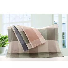 Pure Cotton Double Layer Gauze Pillow Case Manufacturers Wholesale 32 Ply Yarn Dyed Plaid Pillow Case Double Layer Fabric Lattic(China)