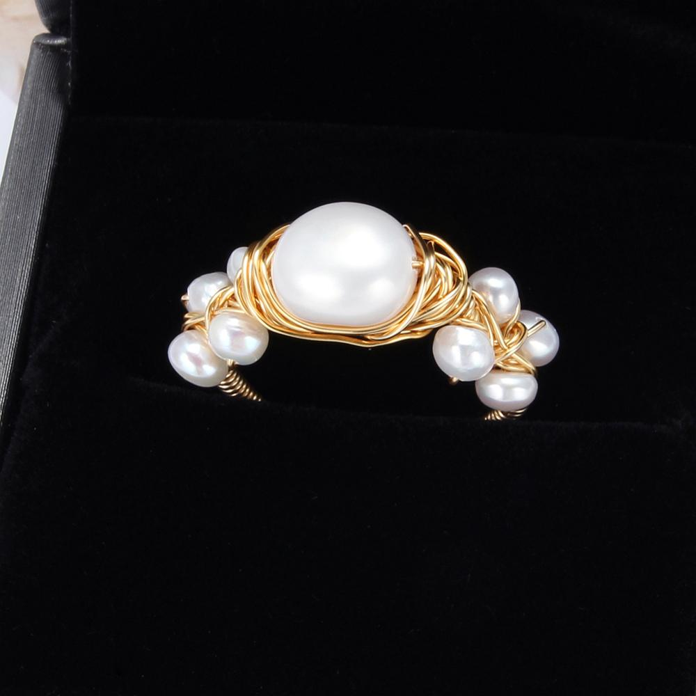 Natural Baroque Fresh Water Pearl Ring For Women Party Gift Handmade Creative Rings Wedding Party Luxury Pearl Rings